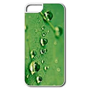 Case For Iphone 5C Cover, Green Waterdrops White Cases Case For Iphone 5C Cover