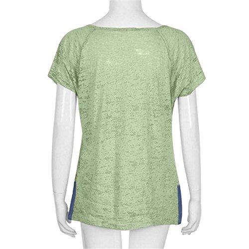 Canottiere Verde Maniche Allentate Bottone Donne T Donna Camicetta Casuale Maglia Panpany Della Delle Estate Del ragazza Corte Maglietta Top Shirt Donna Nn0wPXZO8k