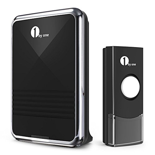 1byone Easy Chime Wireless Doorbell Kit, 1 Receiver & 1 Push Button with Sound and LED Flash, 36 Melodies to Choose, Battery (Bell Flash)