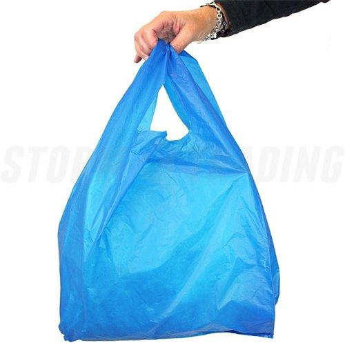 x 100 Bleu électrique 'Vest'Carrier Bags 12 x 18 x 24 28 (microns) Unipack Unibags-marque Unipack Ltd