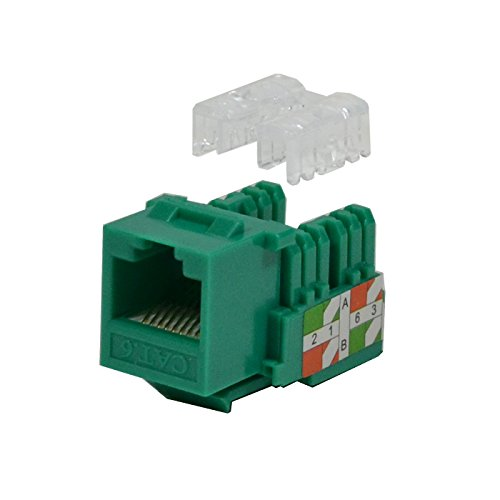 LOGICO 25 Pack lot Keystone Jack Cat6 Green Network Ethernet 110 Punchdown 8P8C 8p8c 110 Keystone Jack