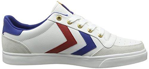 Hummel Sneaker Unisex Adulto - Stadil Low - Scarpa Casual Bianco E Nero - Scarpa In Pelle / Velour - Sneaker Classico - Sneaker Comfort Suola Bianca (bianco / Blu / Rosso / Gomma)