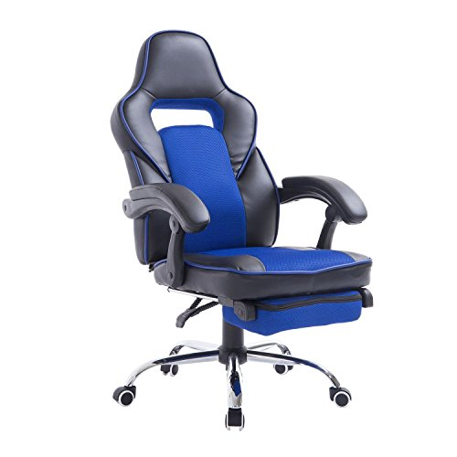 HomCom Race Car Style High Back PU Leather Reclining Office Chair with Footrest - Blue and Black