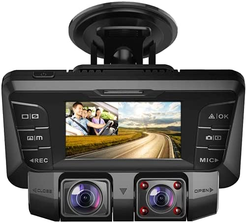 Pruveeo C2 1080P Dual Dash Cam 2.7 inch LCD with Infrared Night Vision,G-Sensor, Dual Front and Inside, 170° Wide Angle, G-Sensor, Loop Recording ,24H Parking Monitor for Cars Truck Taxi Drivers