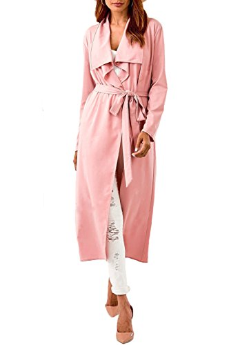 Satin Wool Coat - Women's Lapel Long Sleeve Open Front Draped Trench Coat Cardigan with Belt (US-2, Pink)