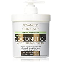 Advanced Clinicals Coconut Oil Cream. Spa size 16oz Moisturizing Cream. Coconut Oil for Face, Hands, Hair.