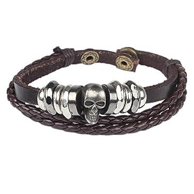 Foreasy Leather Bracelet Skull Wristband Bracelet For Mens Womens Cuff Bracelet Jewelry Fit 6 - 7 inch