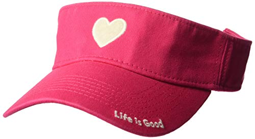 Life is Good Visor Heart Fishing Hats, Pop Pink, One Size ()