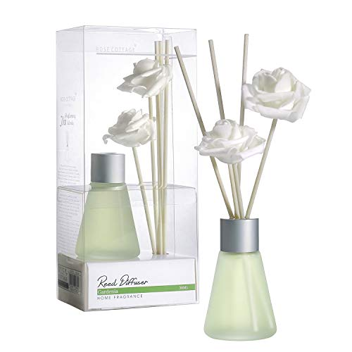 Rose Cottage 30ml Gardenia Reed Diffuser Set with 30ml Essential Oil Refill for Bedroom Living Room Office Gift Idea