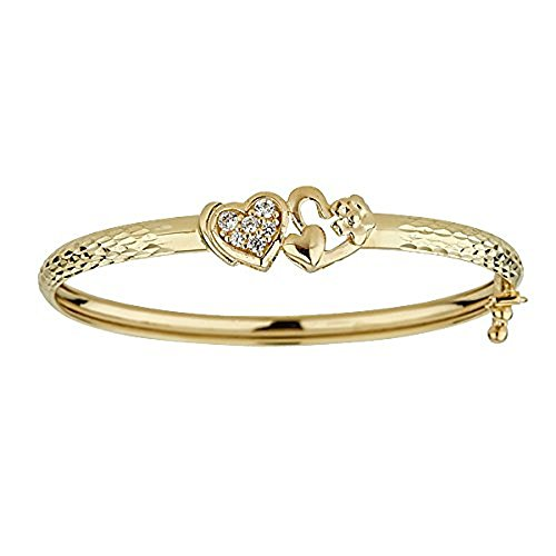 le Heart Baby Bangle with Cubic Zirconia (14k Gold Baby Bangle)
