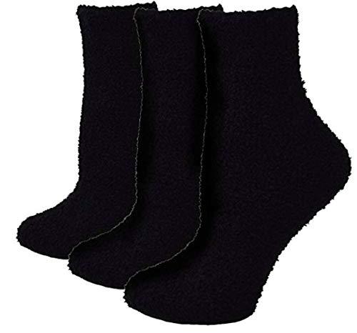 ELLITE Womens Premium Soft Fuzzy Solid Stripe Winter Warm Microfiber Crew Socks-Black (Black Socks Soft)