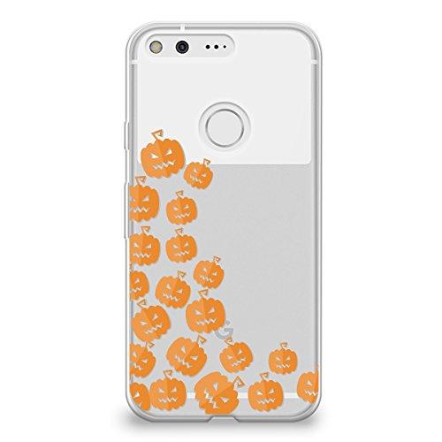 CasesByLorraine Google Pixel XL Case, Halloween Cute Pumpkins Clear Transparent Case Flexible TPU Soft Gel Protective Cover for Google Pixel XL (P111)