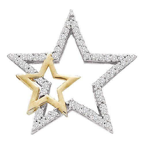 Jewels By Lux 10kt Yellow Gold Womens Round Diamond Two-tone Double Star Outline Pendant 1/6 Cttw In Pave Setting (I2-I3 clarity; J-K ()