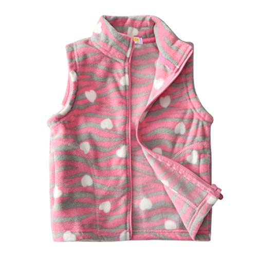 Uobzyaq Little Girls Love Heart Pink Leopard Lightweight Fleece Vest Zipper Up Waistcoat Size 110 by Uobzyaq