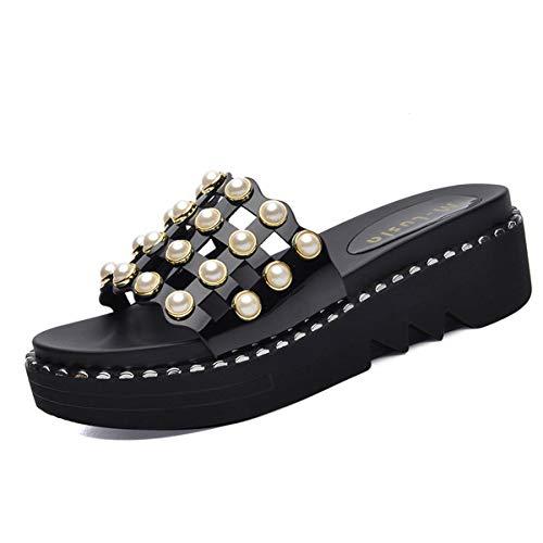 fashionable joker AJUNR wear slippers of fashions all Ladies beach shoes Slippers Women's Black Work kinds SFwTYqFZ
