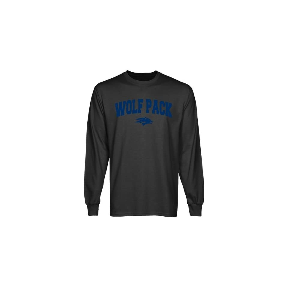 Nevada Wolf Pack Charcoal Logo Arch Long Sleeve T shirt