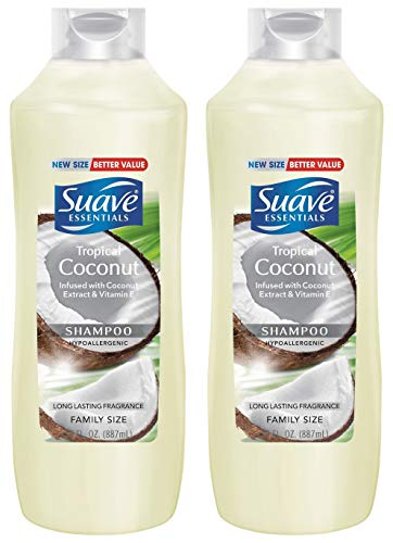 Shampoo Suave Coconut (Suave Essentials Shampoo - Tropical Coconut - Family Size - Net Wt. 30 FL OZ (887 mL) Per Bottle - Pack of 2 Bottles)