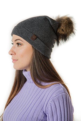 Marino's Knit Pom Beanie Winter Hat, Cashmere Blend Womens Knit Hats for Winter with Snap-On Rabbit Fur Pompom - Dark Gray