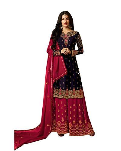 Delisa Georgette Embroidery Salwar Kameez for Womens Indian Dress Ready to Wear Salwar Suit Lavana (Blue, X-LARGE-44)