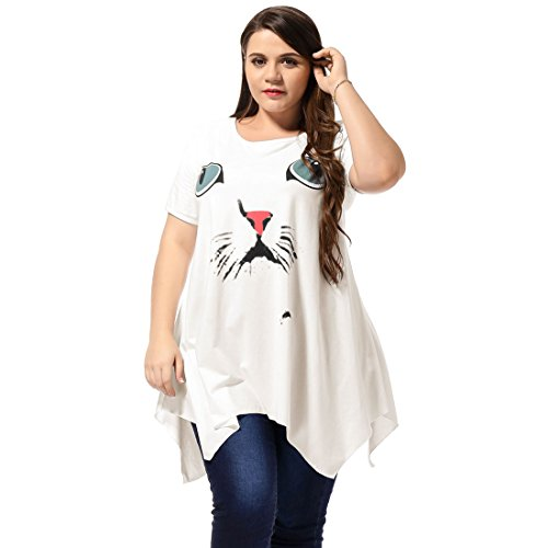 Alya Ladies Plus Size Scoop Neck Cat Head Prints Casual Pullover Dress 415wpq0dq3L