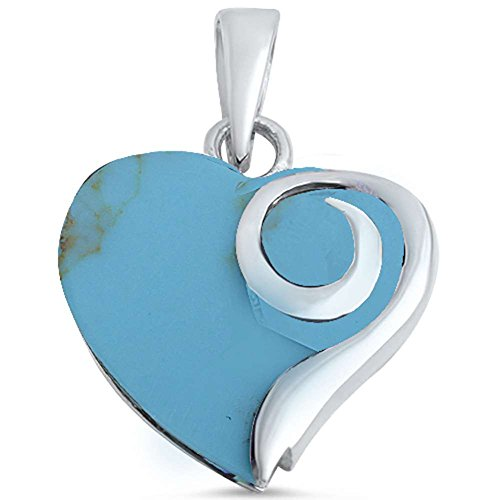 Blue Apple Co. Swirl Heart Pendant Simulated Turquoise 925 Sterling Silver (23mm)