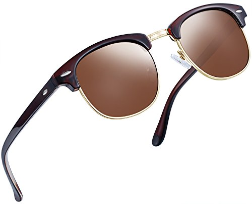 - Joopin Semi Rimless Polarized Sunglasses Women Men Brand Vintage Glasses Plaroid Lens Sun Glasses (Brown)