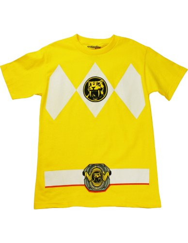 [Mighty Morphin' Power Rangers Yellow Ranger Costume T-Shirt, Saber-Toothed Tiger Yellow, Small] (Yellow Ranger Costumes)