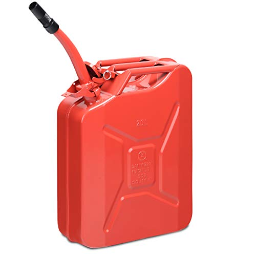 Goplus 20 Liter (5 Gallon) Jerry Fuel Can with Flexible Spout, Portable Jerry Can Fuel Tank Steel Fuel Can, Fuels Gasoline Cars, Trucks, Equipment - Red Metal Gallon 5