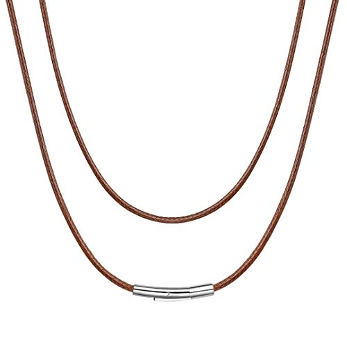 ChainsHouse 2mm Wide Men's Brown Braided Leather Necklace Cord with Stainless Steel Clasp, 16 inch