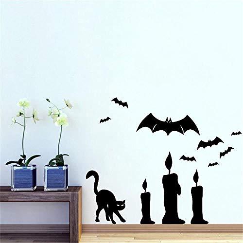 Scmkd Halloween Wall Sticker Bark and Bat Background