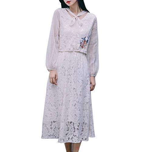 Busto Top De Blue Ovesuxle color Ocio Vestido Falda Oficina M White Dos Size Traje Encaje Piezas Estudiante XqqFOY