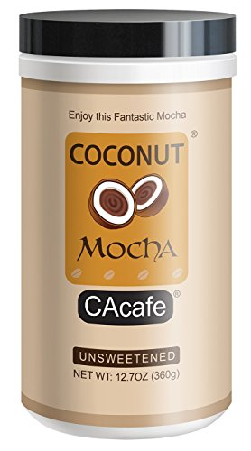 Coconut Mocha Unsweetened, instant style Colombian Coffee and Dutch Cocoa with REAL coconut, No Sugar Added, 12.7oz, 18 servings by NewNew Foods