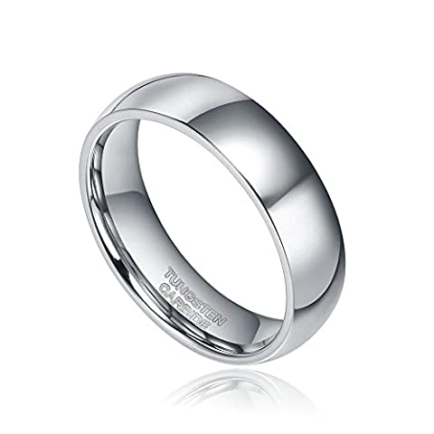 Greenpod Wedding Rings for Men 6mm Tungsten Carbide Dome Polished Size 4-14 (9.5)