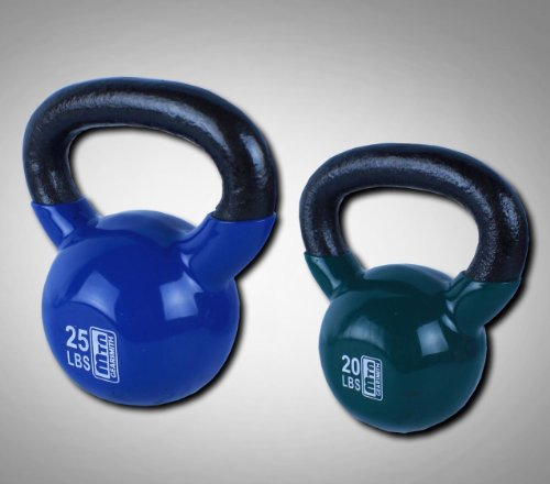 New 20+25 Lbs Vinyl Coated Cast Iron Kettlebells Combo Weight Dumbbells
