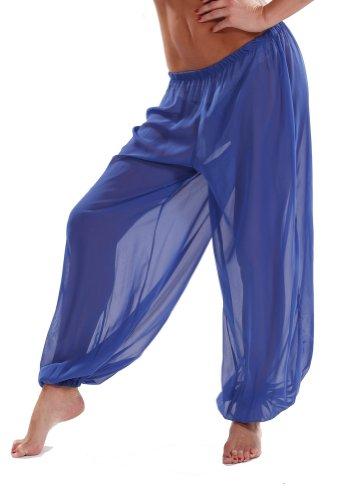 Belly Dance Chiffon Harem Pants | Sheer Shadow - (Royal Blue Belly Dance Costume)