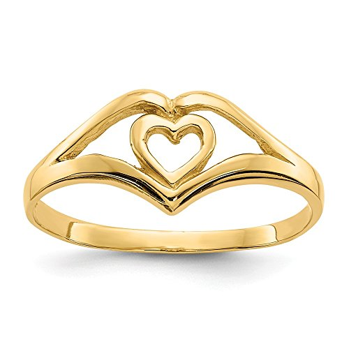 14k Yellow Gold Double Heart Cut Out Frame Band Ring Size 7.50 S/love Fine Jewelry Gifts For Women For Her