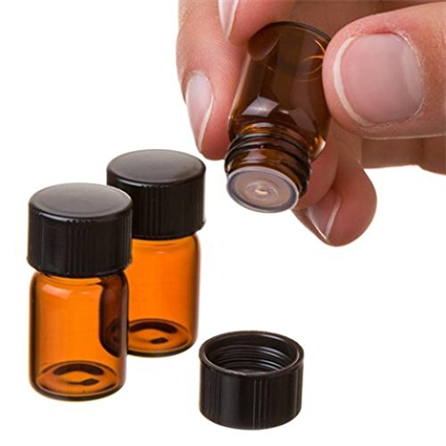 iusun–Juego de 122ml (5/8DRAM) Reductor de botella de aceite esencial con orificio de vidrio ámbar y Cap, Ambar