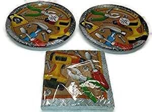 "Handyman Birthday Party Bundle Dinner Napkins & 9"" Plates Party Kit for 16"