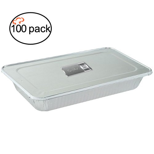 TigerChef TC-20557 Durable Full Size Steam Table Deep Aluminum Pan with Aluminum Foil Lids, Multi-Purpose Disposable Pans with Covers, 21'' x 13'' Size (Pack of 100) by Tiger Chef