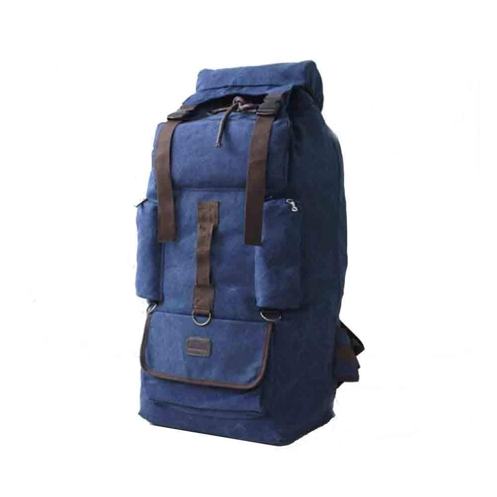 MYXMY 110L Large Capacity Thick Canvas Outdoor Tent Backpack Male Travel Luggage Work Quilt Moving Bag (Color : D)