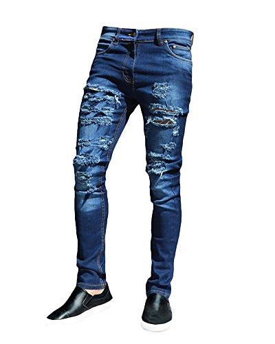 Blu Da Distrutto Pantaloni Strappati Patchato Taglio Sguardo Jeans Uomo Stile Skinny Elasticizzati HqnwPBP