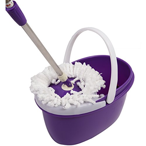Easy Magic Floor Mop 360° Bucket 2 Heads Microfiber Spin Spinning Rotating Head (Purple) by Sustainables (Image #3)