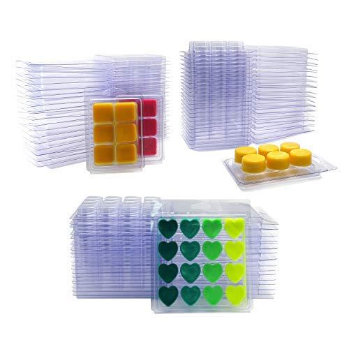 DGQ Wax Melt Molds Heart Shape - Clear Wax Molds Plastic Wax Melt Clamshells (60-Packs) (Heart Candle Tarts)