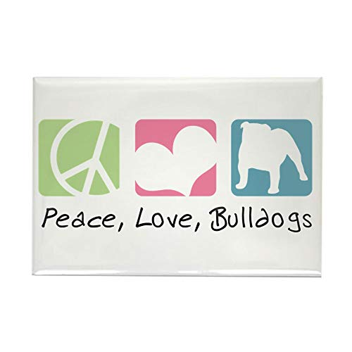CafePress Peace, Love, Bulldogs Rectangle Magnet, 2
