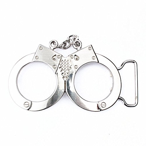 Novelty Vintage Silver Police Handcuffs Mens Metal Belt Buckle Fashion Funny Fun