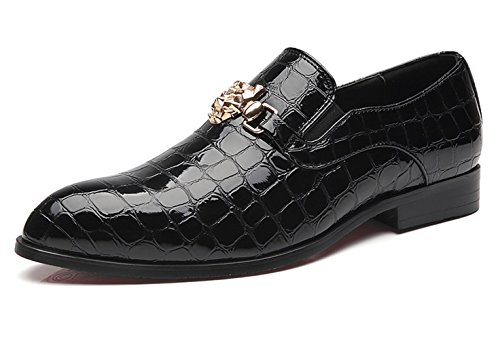 Santimon Loafers Men Italian Alligator Patent Leather Fashion Slip-on Shoes Metal Buckle Pointed Toe Smoking Slipper Moccasins Black 9 D(M) US