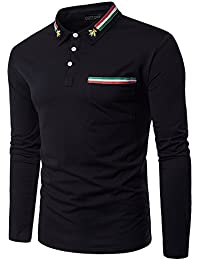 "<span class=""a-offscreen"">[Sponsored]</span>Men's Breast Pocket Colourful Stripe Bee Collar Long Sleeve T-shirt"