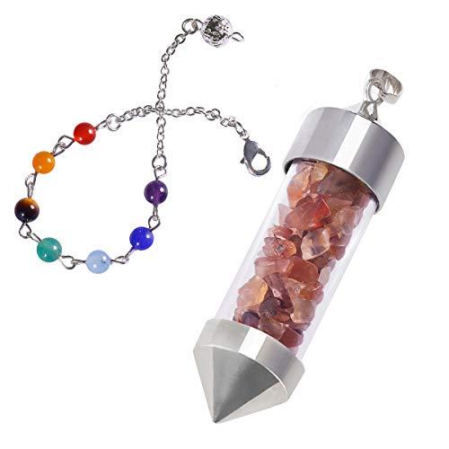 TUMBEELLUWA Healing Stone Chip 7 Chakra Pendulum Crystal Pendant Wish Bottle Necklace Dowsing Amulet,Carnelian ()