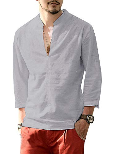 - Karlywindow Mens Summer Casual Linen Henley Shirts Long Sleeve Solid Shirt Grey