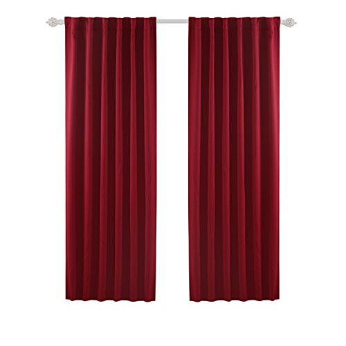 Deconovo Solid Rod Pocket and Back Tab Curtains Thermal Insulated Window Coverings Blackout Drapes for Bedroom 52x84 Inch Maroon Red Set of (Thermal Back Tab Panel)